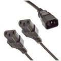2m IEC Male - 2 x Female Cable