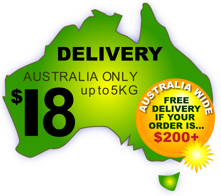 Australia Wide Delivery $18 up to 5kg. Free if over $200 or store pickup.